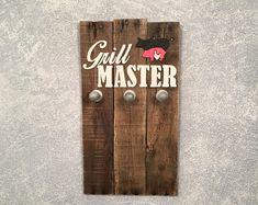 Reclaimed wood BBQ utensil hanger/Grill master BBQ holder/christmas gifts for him/her.