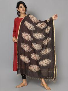 Black Face Chanderi Hand Painted Kalamkari Dupatta
