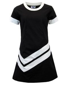 Chevron Retro Mod A-Line 60s Mini Dress (Black) from Madcap England