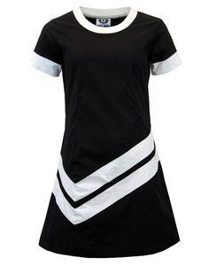 Chevron Retro Mod A-Line 60s Mini Dress (Black) from Madcap England