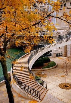 Stairs up to Michigan Avenue from the Riverwalk in Chicago on a beautiful Fall day.