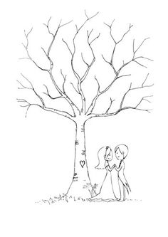 Wedding Guestbook Thumbprint Tree. Love the addition of the couple under the tree!