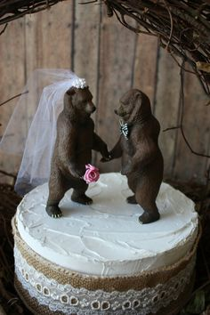 wedding-bear-cake topper-grizzly bear-brown by MorganTheCreator