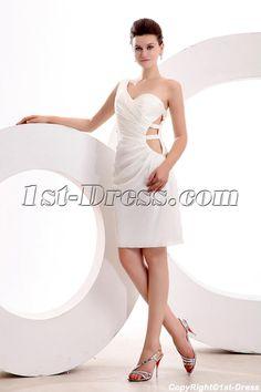 Ivory One Shoulder Mini Sexy Club Dress:1st-dress.com