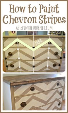 The best DIY projects & DIY ideas and tutorials: sewing, paper craft, DIY. Diy Crafts Ideas How to Paint Chevron Stripes -Read Paint Furniture, Furniture Projects, Furniture Making, Furniture Makeover, Diy Projects, Chevron Furniture, Modern Furniture, Paint Chevron Stripes, Home Crafts