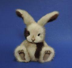 Rascal 6 1/2 inch Mink Fur Bunny Rabbit OOAK by artist Linda Joan Chiasson