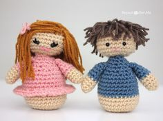 Girl and Boy Amigurumi Dolls - Repeat Crafter Me