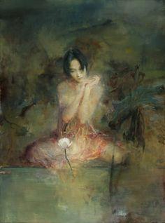 """Foto de Mandarin Gallery Fine Art - Laguna Beach, CA, Estados Unidos.  """"Daydream por el Lotus"""" Artista: Hu Jund al óleo sobre lienzo (original) Ediciones limitadas disponibles"""