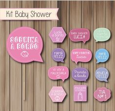 Photobooth Props Accesorios Fotos Cartelitos Kit Baby Shower - $ 170,00