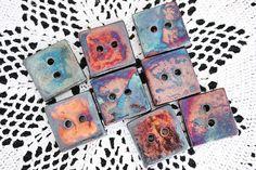 raku squares, ceramic