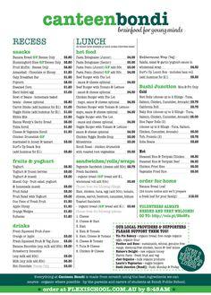 Bondi Public School canteen menu :: wholefoods, fresh, homemade, Nutrikids