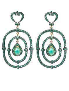 Fantastic - Glam For Good - Emerald Tri-Hoop Earrings