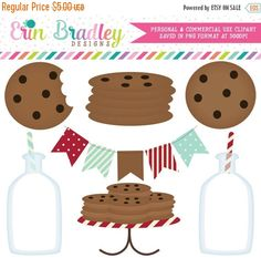 60% OFF SALE Milk and Cookies Clipart Clip by ErinBradleyDesigns