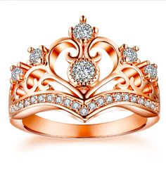 Royal Crown Duchess of Windsor Rose Gold Ring This regal and royal rose gold ring will quickly become your most prized possession in your jewelry box You can shine as bri. Clean Gold Jewelry, Modern Jewelry, Gold Jewellery, Delicate Rings, Unique Rings, White Opal Ring, Gold Ring, Bridal Jewelry Sets, Jewelry Box