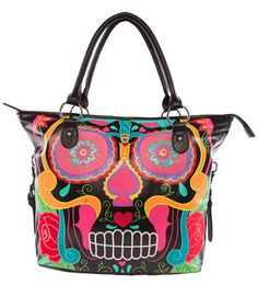 Iron Fist SUGAR SKULL TOTE BAG Carry Handle Psychobilly Skull #ironFist #TotesShoppers