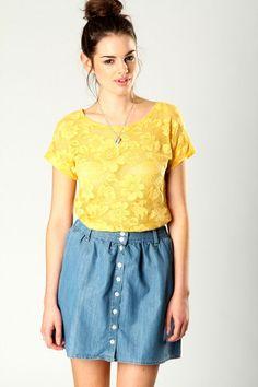 Boohoo Tanya Lace Daisy Shell Top In Yellow