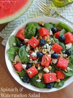 Spinach & Watermelon Salad CozyCountryliving.com #salad #Summer #vegetarian