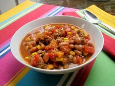 Taco Soup from Food.com: This is a delicious and quick soup (even if you are not on Weight Watchers). One cup of soup has 2 points, and recipe makes 12 cups.