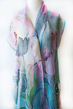 Hand Painted Silk Scarf Silk Chiffon Scarf Black Tulips by aniutik