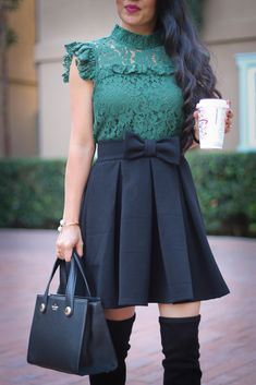 lace green top black bow pleated skirt pearl cuff over the knee boots