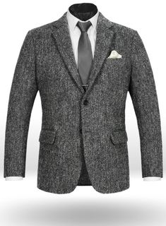 Harris Tweed Gray Herringbone Jacket : StudioSuits: Made To Measure Custom Suits, Customize Suits, Jackets and Trousers Herringbone Fabric, Herringbone Jacket, Jacket Style, Suit Jacket, Harris Tweed Jacket, Master Tailor, Derby Shoes, Jacket Buttons, Halloween Outfits