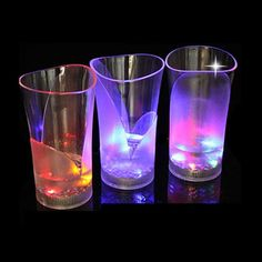 Light up led glow party drinkware,batteries installed!Three flashing mode light your party,fast blink-slow blink-steady light.It's made of eco-friendly PS material,safety to drink!This vase shape can also be a real vase,try to put flower in to this glass and press button,Light your whole room,very romantic! And it's also a ideal promotion party favor,imprint your message or logo on it,make all of clients remember your company!!