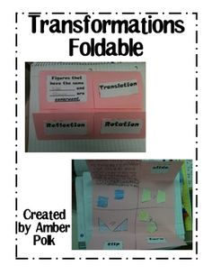 Directions and Templates to create a foldable about transformations.  ...