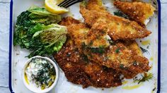 Snapper schnitzel recipe with charred lettuce and easy dill tartare sauce