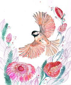 Chickadee // SALE 3 for 2 // bird flight watercolor painting print by OlaLiola, size 8x10 (No. 44)