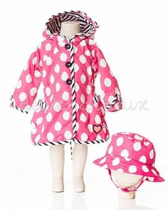 Deux par deux Pink Polka Dot Zip Rain Coat & Hat Two Piece Set