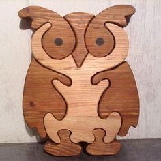 Puzzle chouette huit pieces en bois en chantournage