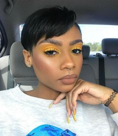 Makeup Looks Muddy. Makeup Artist Cards under Makeup Revolution Skincare. Makeup Looks Orange On Me whether Makeup Forever Kabuki Brush Yellow Eye Makeup, Yellow Eyeshadow, Black Girl Makeup, Dark Skin Makeup, Eyeshadow Looks, Dark Skin Eyeshadow, Makeup On Fleek, Kiss Makeup, Flawless Makeup
