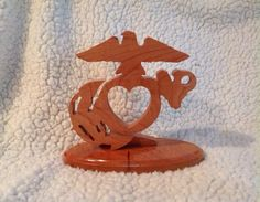 Wooden USMC EGA with Heart Wedding Cake Topper or decoration- something like this would be awesome!