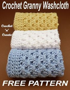 Crochet this washcloth in easy granny stitch, free crochet pattern. #crochetncreate #freecrochetpattern #crochetwashcloth