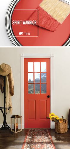 Add a bright pop of color to the interior design of your home with the help of Spirit Warrior by BEHR Paint. This vivid red shade acts as a modern accent color on a painted front door. This hue can be paired with a variety of home decor styles, including Room Colors, House Colors, Home Renovation, Home Remodeling, Kitchen Remodeling, Bathroom Renovations, Home Decor Styles, Diy Home Decor, Decor Interior Design
