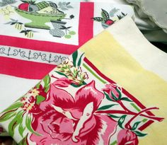 10 Ways to Decorate with Vintage Printed Tablecloths: Colorful 1940's patterned tablecloths