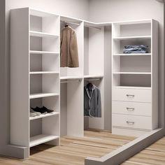 TidySquares White Wood x Walk-in Closet System (White)(Laminate) Bedroom Corner, Bedroom Closet Design, Master Bedroom Closet, Closet Designs, Master Bath, Front Closet, Closet Rod, Closet Doors, Walk In Closet