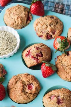 Lemon Strawberry Protein Muffins from The High-Protein Vegan Cookbook. Super easy to make & not too sweet - they make the perfect breakfast or snack! Egg Free Muffins, Vegan Muffins, Protein Muffins, Vegan Protein, Healthy Breakfast Muffins, High Protein Breakfast, Breakfast Smoothies, Perfect Breakfast, Healthiest Breakfast