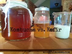 Both kombucha and kefir start with a base of sweetened liquid (tea for kombucha, sugar-water or milk for kefir). The cultures (a combo of bacteria and yeast) gobble up the sugars and cause the liquid to ferment. The resulting fermented drink is loaded with organic acids, enzymes, beneficial microflora and vitamins making it pretty darned good for you! A teeny, tiny bit of alcohol is also produced but not enough to be of concern – even kids can drink it safely