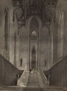 The interior of the now-ruined Fonthill Abbey, the brainchild of Gothic novelist William Beckford.