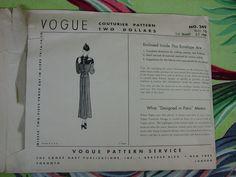 Fabulous Vintage Vogue Couturier Pattern C 1930's No 249 Two Piece Dress pattern