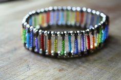 Bohemian Gypsy Cuff Rainbow ROYGBIV Safety Pin by freehippie, $18.00