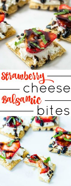 Make your next appetizer these Strawberry Cheese Balsamic Bites! It's an easy recipe that your guests will enjoy. If you're looking for a good party food, this is it!