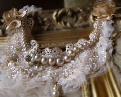 wedding necklace beaded with vintage pearls