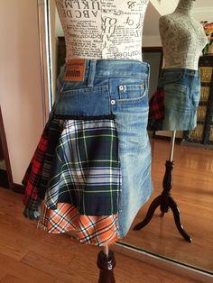 Junya Watanabe plaid tartan Denim skirt Rock XS