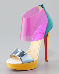 Christian Louboutin Pink Dufoura Opentoe Red Sole Bootie