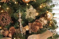Pine cone garland and twig ornaments from Michael's via Shanty 2 Chic