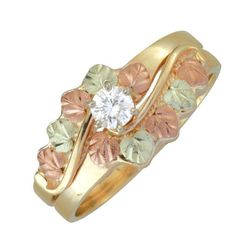 10K BLACK HILLS GOLD  LADIES .17 TW DIAMOND ENGAGEMENT WEDDING RING SIZE 9 #Coleman