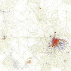 Amsterdam. Deze stadskaarten van Eric Fischer laten zien waar toeristen en waar locals uithangen per stad. Belangrijk om te weten: -Rood = toeristen -Blauw = locals -Geel = kunnen ze allebei zijn