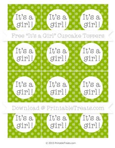 Apple Green Dotted Pattern  Its a Girl Cupcake Toppers